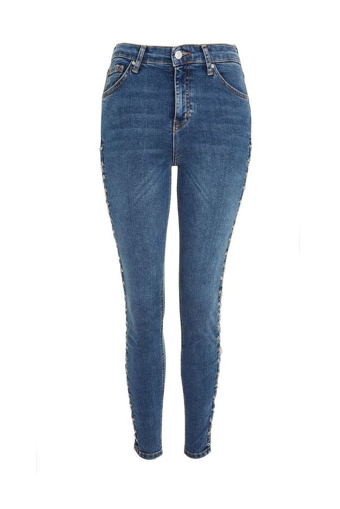 Womens MOTO Mid Blue Chain Side Jamie Jeans - Mid Blue, Mid Blue