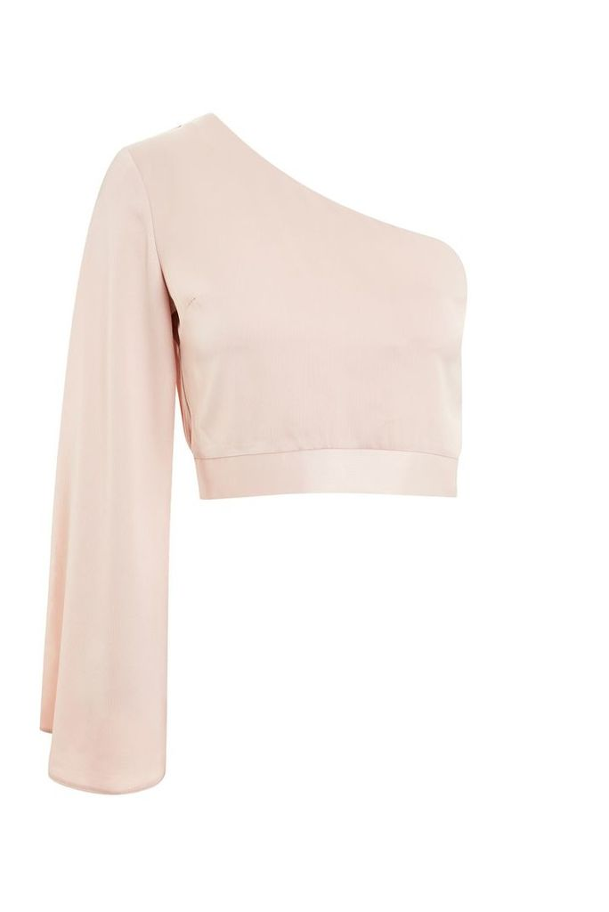 Womens Satin One Shoulder Blouse - Nude, Nude