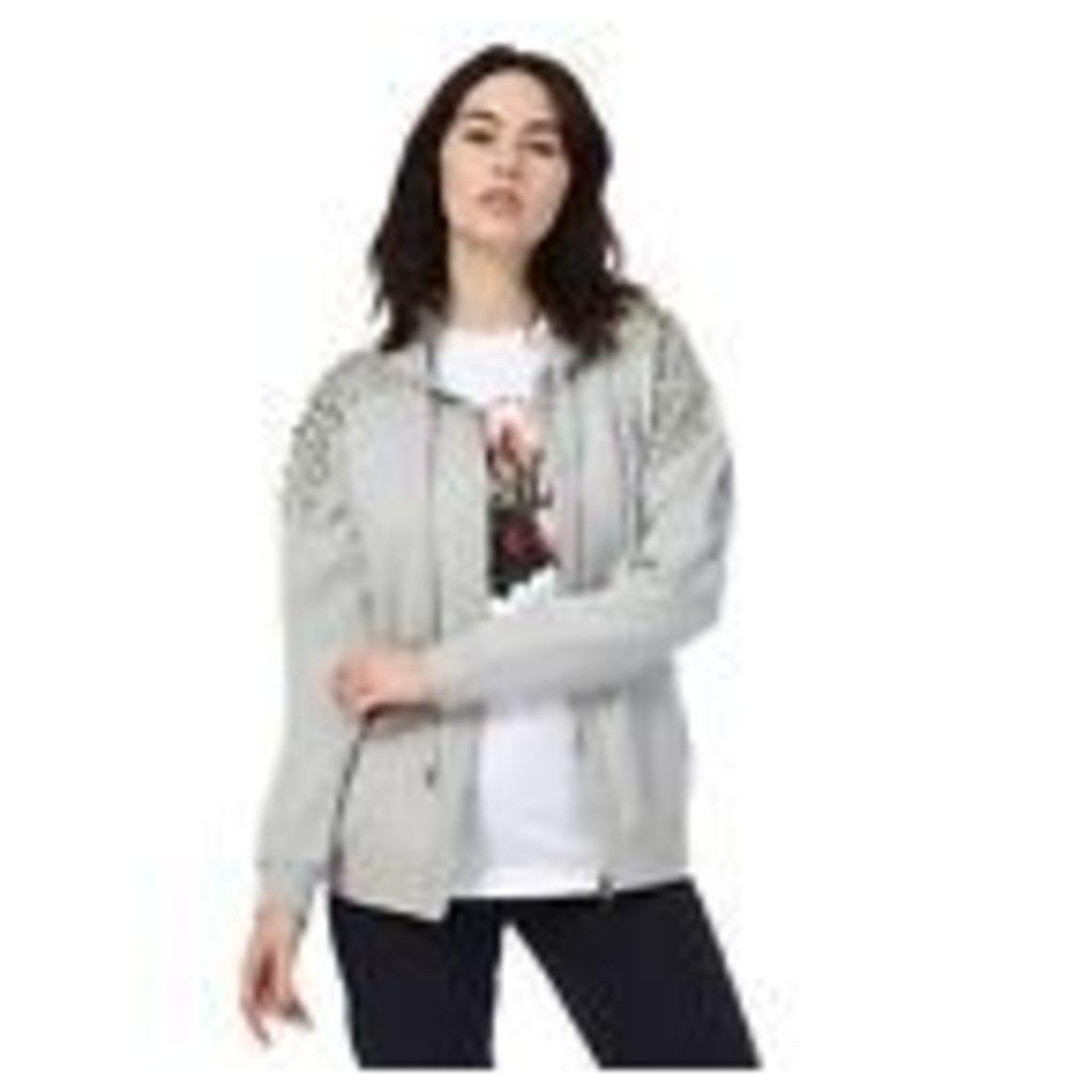 Todd Lynn/Edition Womens Grey Studded Zip Through Hoodie From Debenhams