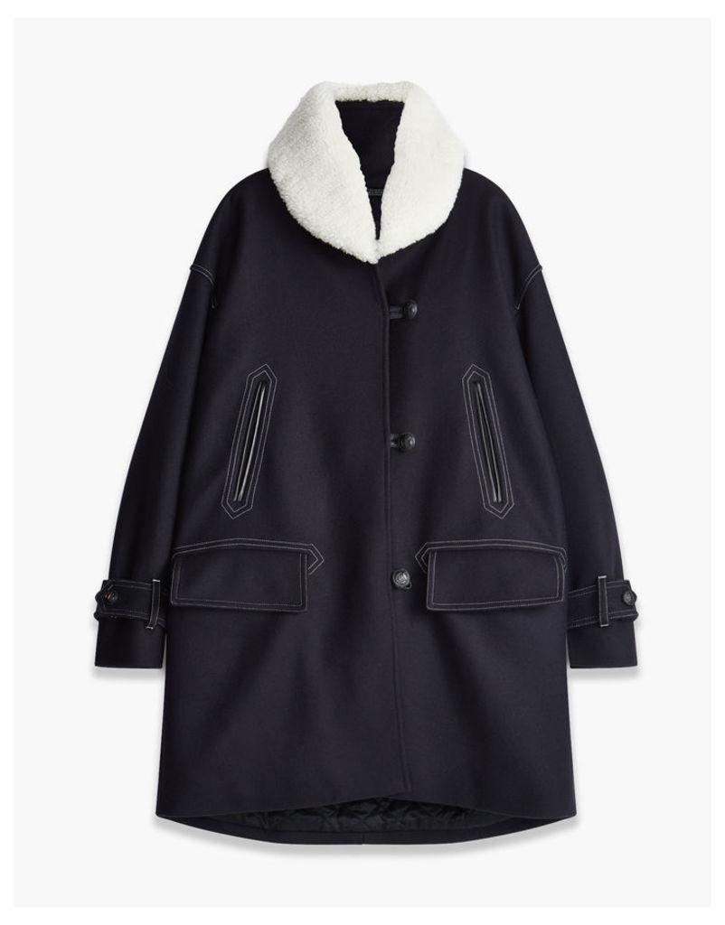 Belstaff Apsley Coat With Fur navy