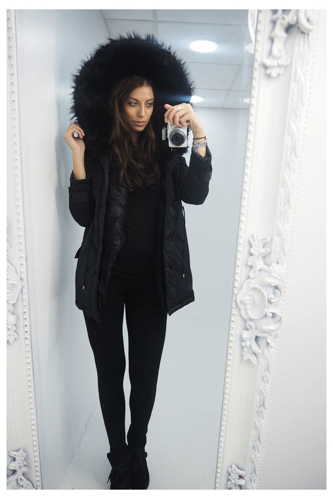 Tianna BLACK Faux fur hooded coat