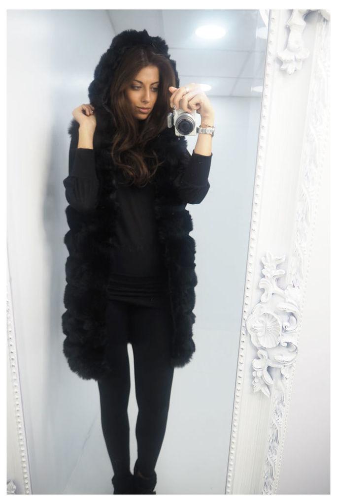 Kerissa BLACK chunky faux fur hooded longline gilet