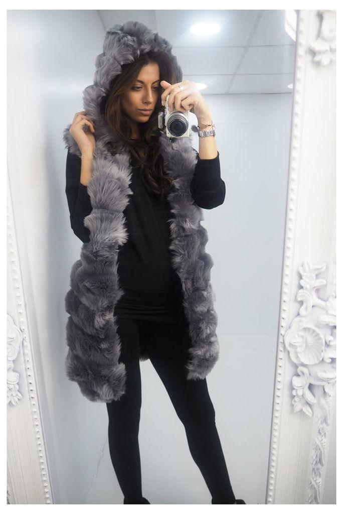 Kerissa GREY chunky faux fur hooded longline gilet