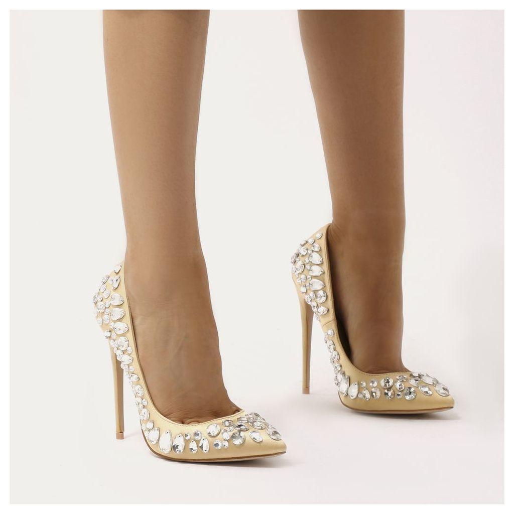 Opulance Jewel Pointed Toe Stiletto Heels  Satin, Gold