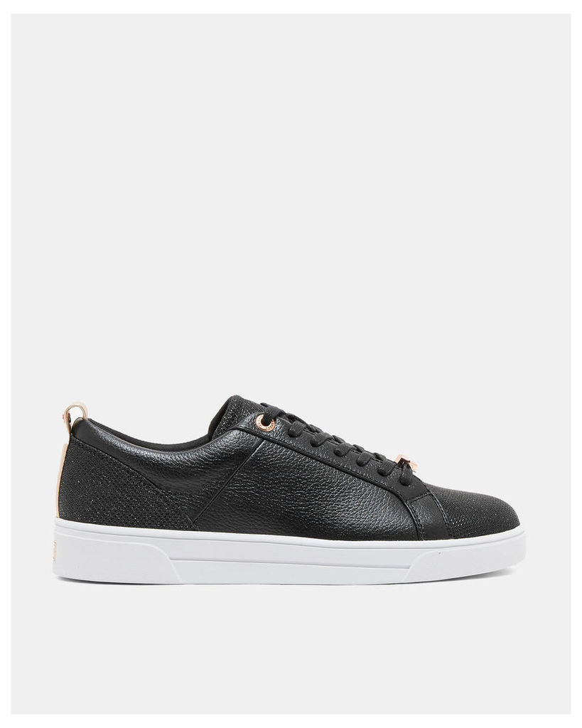 Ted Baker Leather glitter tennis trainers Black