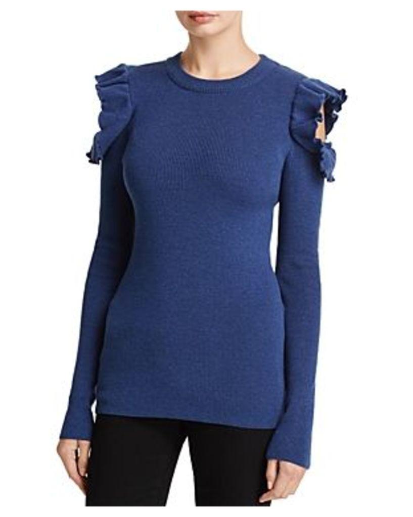 Elan Ruffled Cold-Shoulder Sweater
