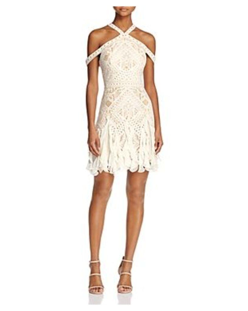 Bcbgmaxazria Halter Lace Ruffle-Hem Dress