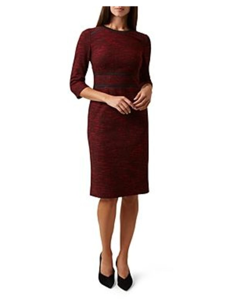 Hobbs London Florrie Textured Ribbon-Detail Dress