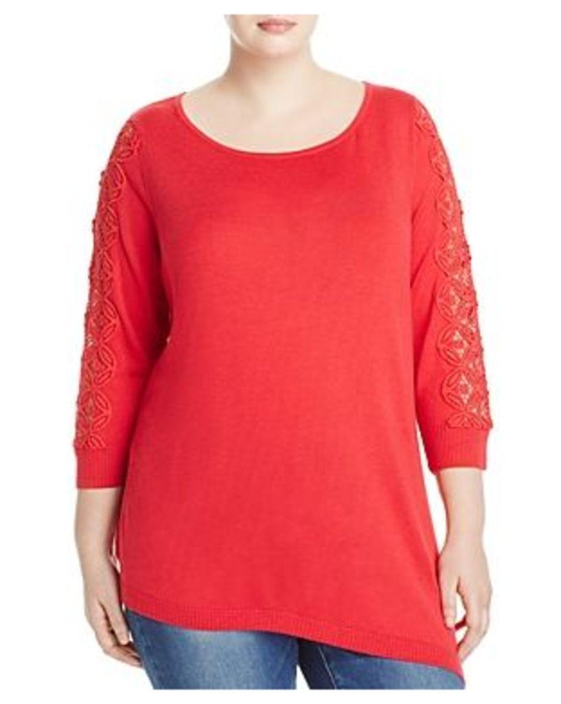 Love Scarlett Plus Asymmetric Lace Inset Sweater