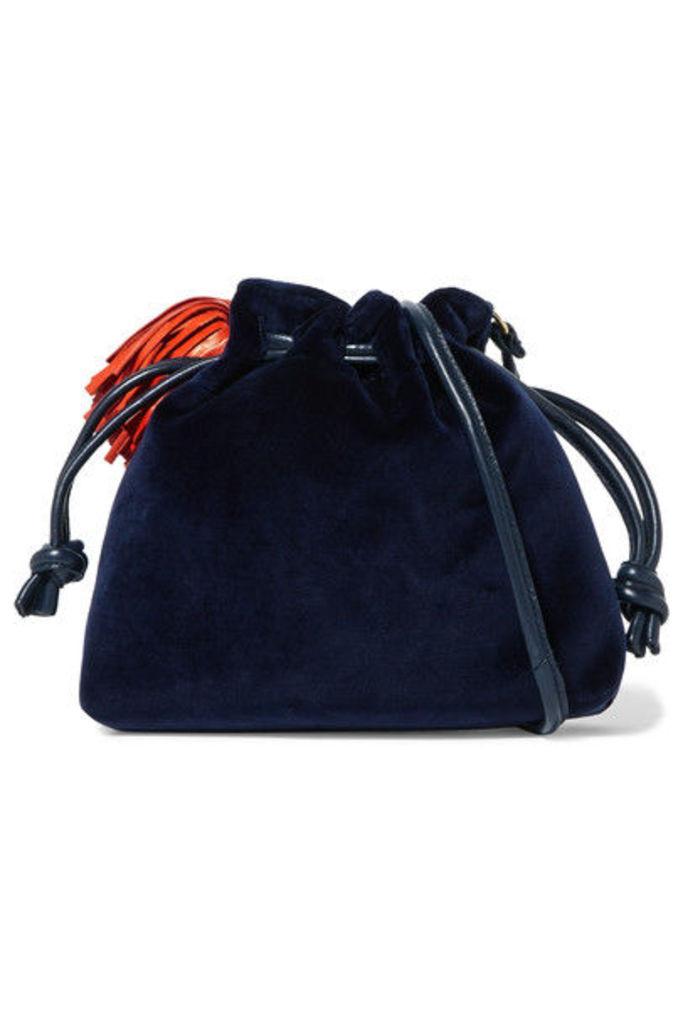 Clare V. - Henri Small Leather-trimmed Velvet Bucket Bag - Navy