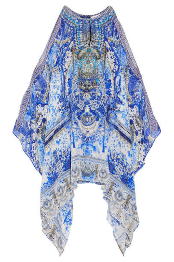 Camilla - Chinese Whispers Embellished Printed Silk Crepe De Chine Kaftan - Blue