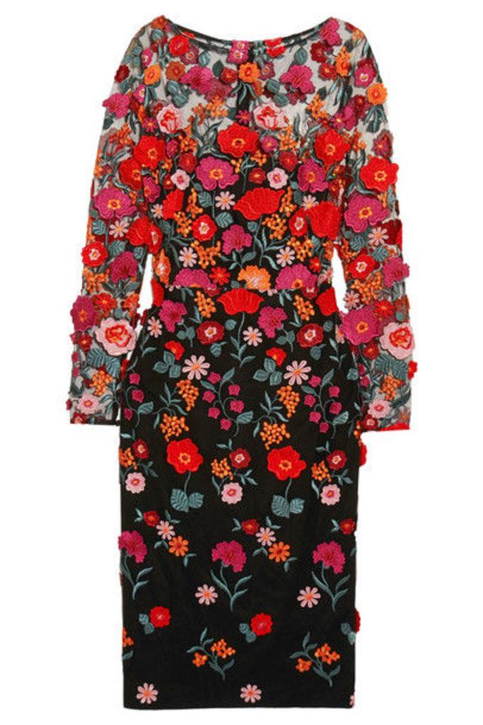 Lela Rose - Appliquéd Embroidered Tulle Dress - US2