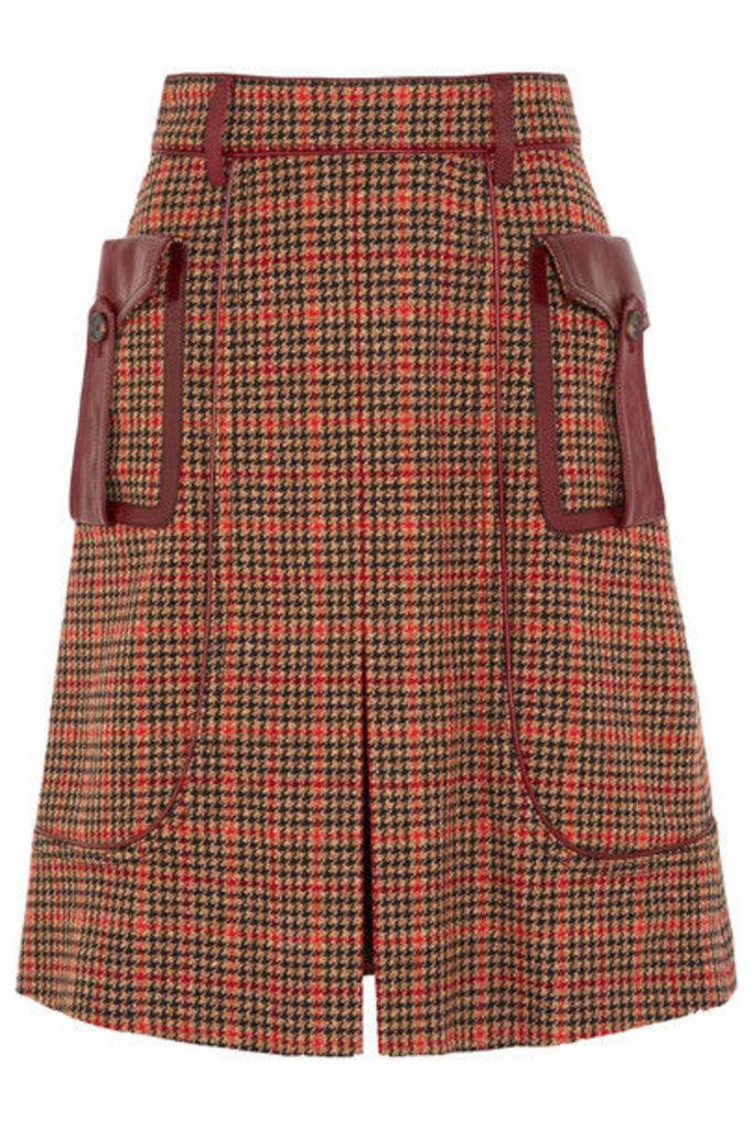 Prada - Leather-trimmed Checked Wool-blend Tweed Skirt - Orange