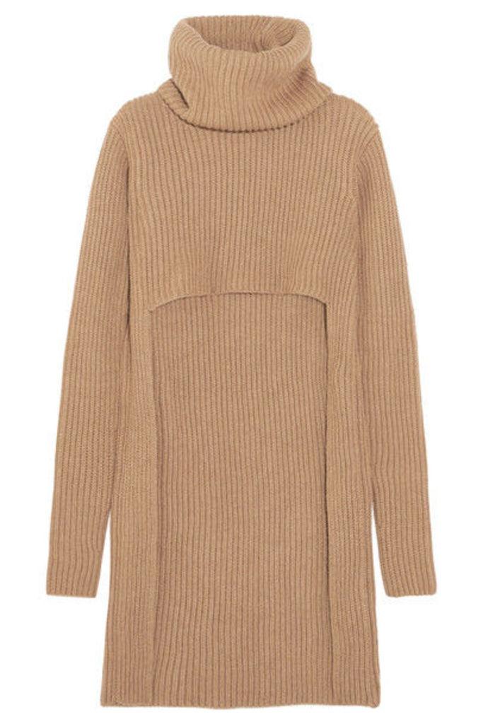 Balmain - Cutout Ribbed Wool Turtleneck Sweater - Beige