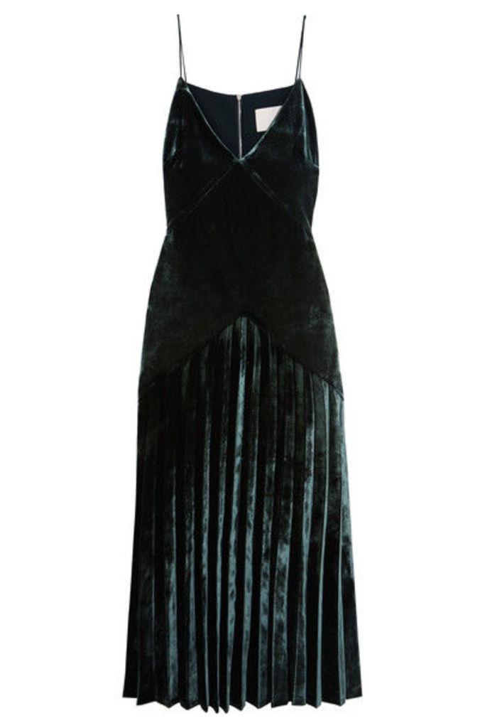 Dion Lee - Pleated Velvet Midi Dress - Emerald