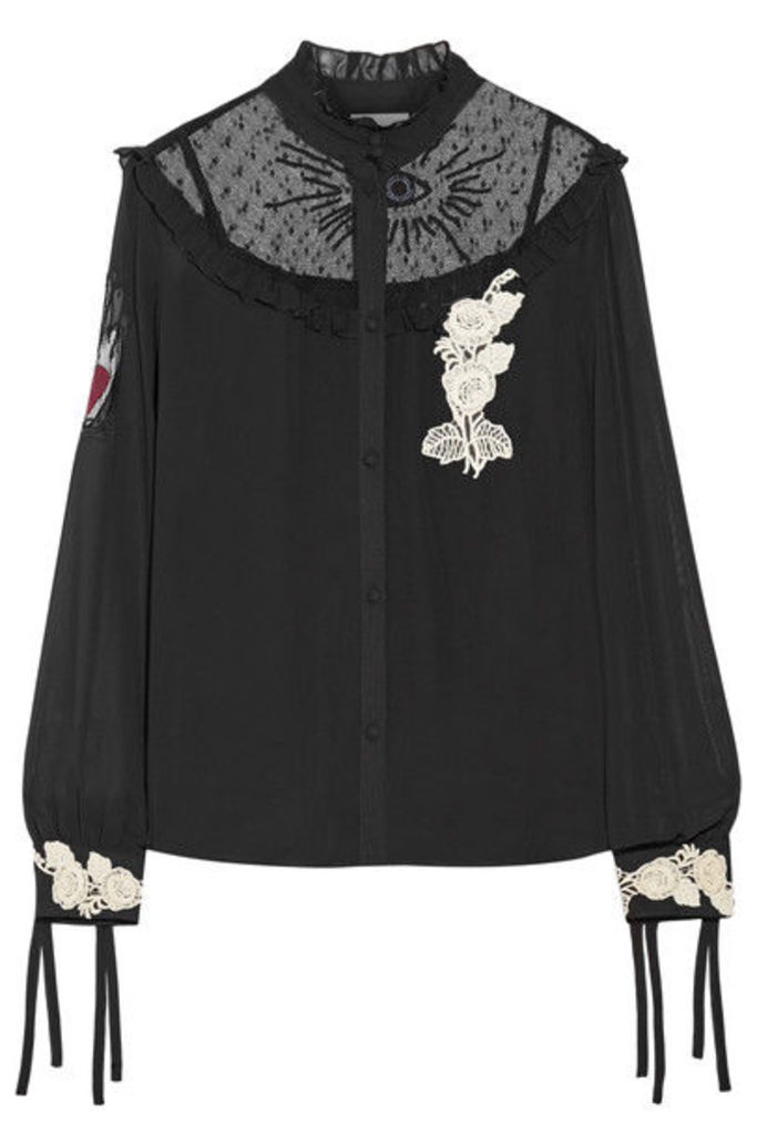 REDValentino - Embroidered Point D'esprit-paneled Appliqued Chiffon Blouse - Black