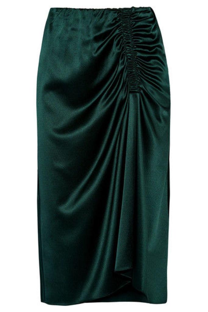 Theory - Ruched Silk-blend Satin Midi Skirt - Green