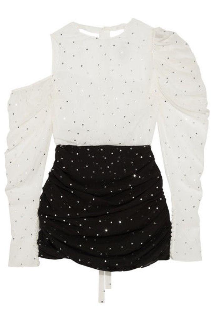Magda Butrym - Munster Cold-shoulder Embellished Silk-blend Georgette Mini Dress - White