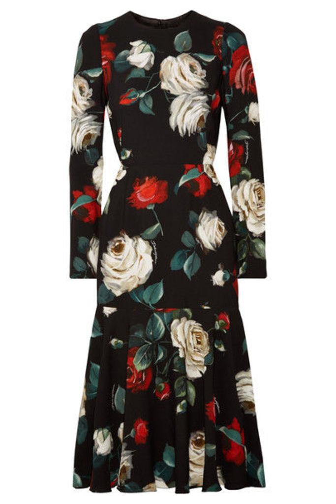 Dolce & Gabbana - Floral-print Cady Midi Dress - Black