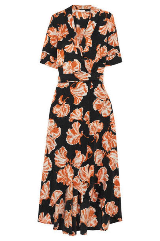 GANNI - Geroux Floral-print Silk Crepe De Chine Wrap Dress - Black
