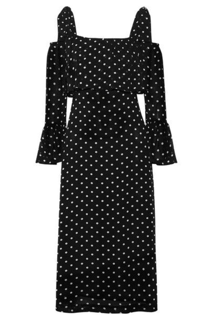 GANNI - Monette Cold-shoulder Polka-dot Georgette Dress - Black