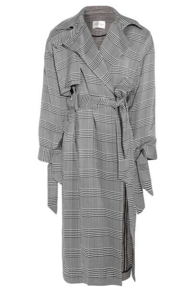Carmen March - Belted Houndstooth Woven Trench Coat - Black