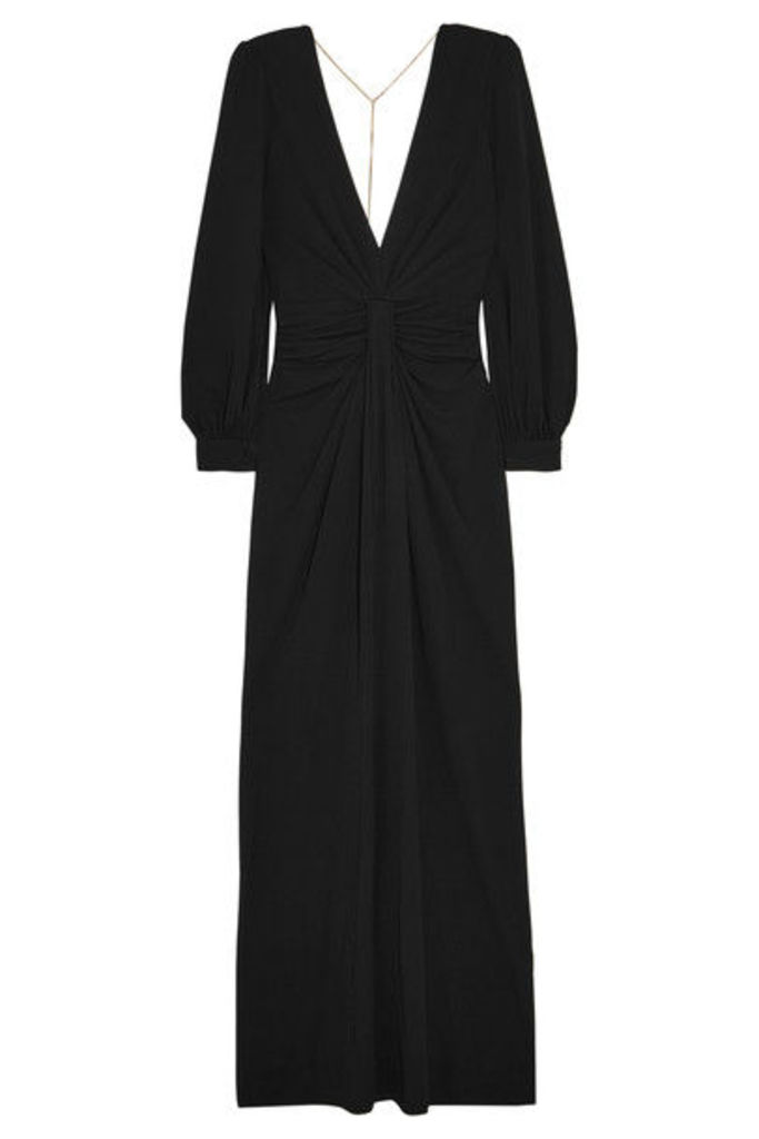 Michael Kors Collection - Chain-embellished Open-back Draped Jersey Gown - Black