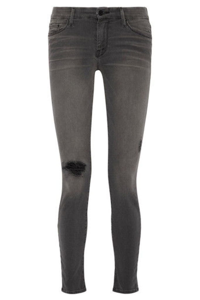 Mother - Looker Distressed Mid-rise Skinny Jeans - Gray