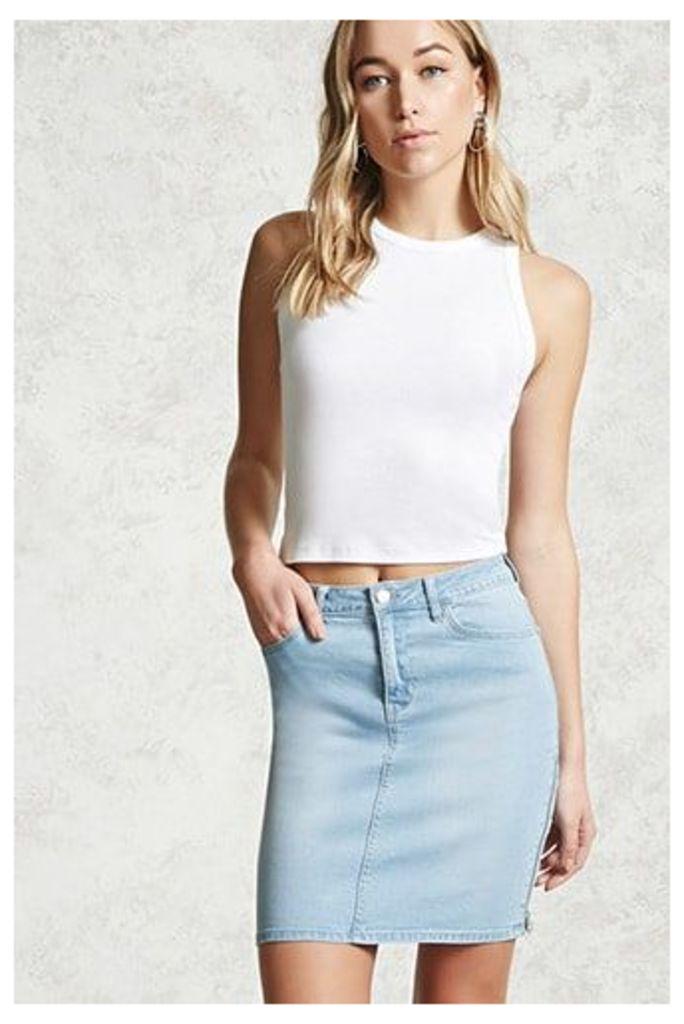 Zippered Denim Skirt