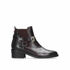Carvela Saddle - Wine Leather Western Ankle Boots