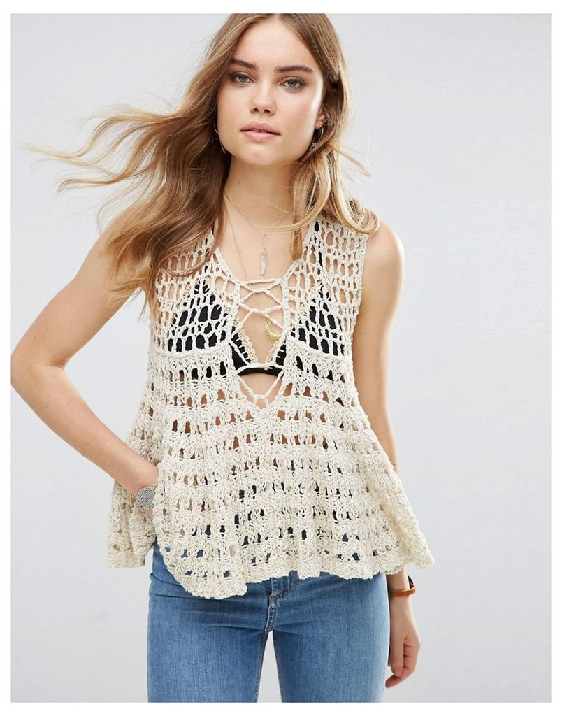 Free People Circles Within Crochet Knit Lace Up Vest Top - Cream