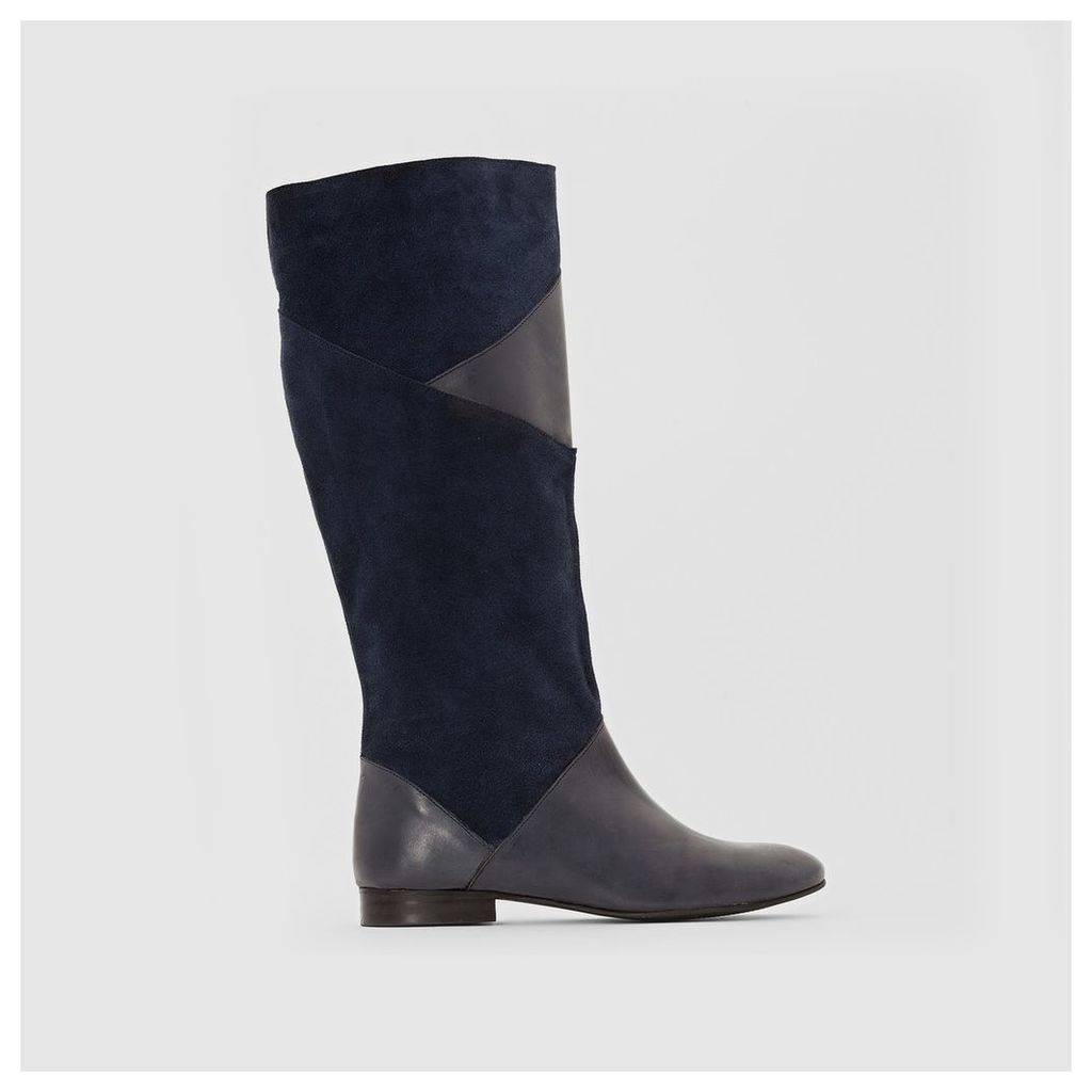 Dual Fabric Leather Boots