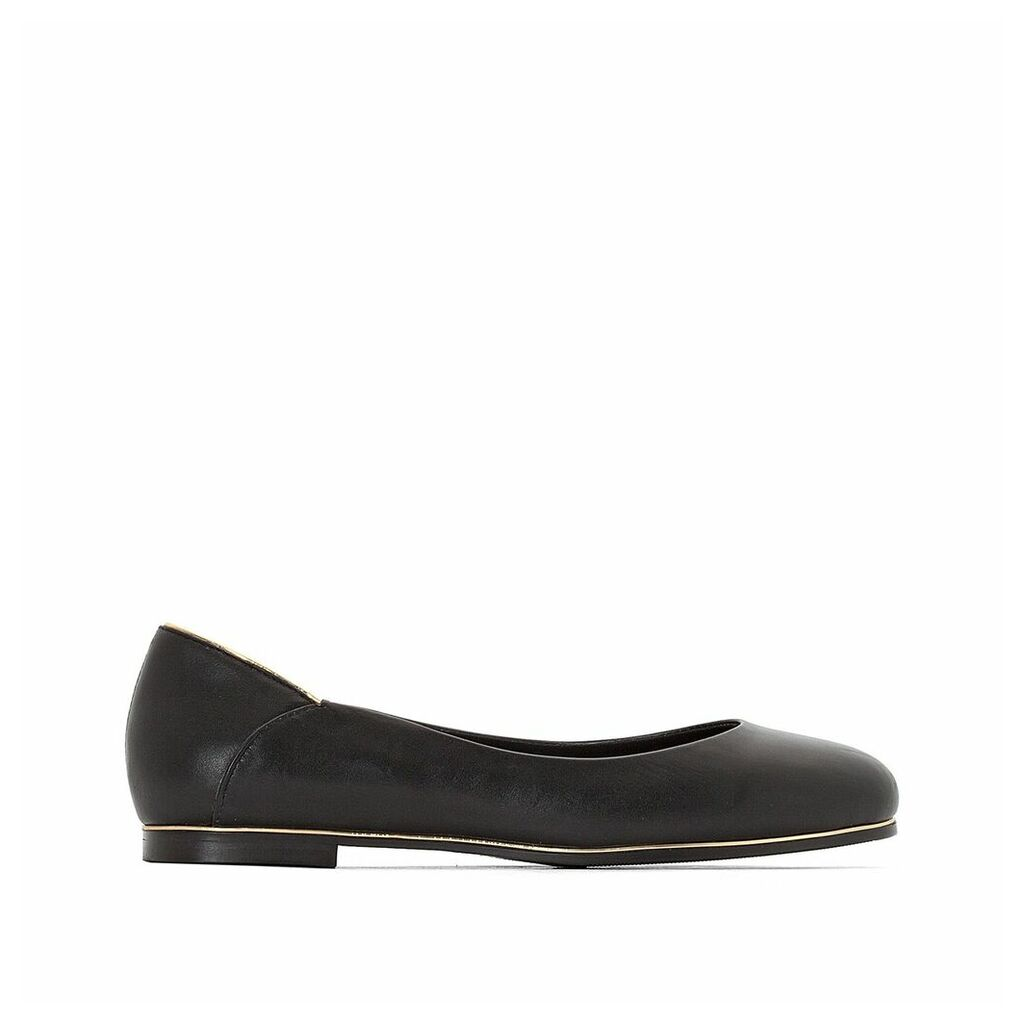 Leather Ballet Pumps with Gold-Coloured Band