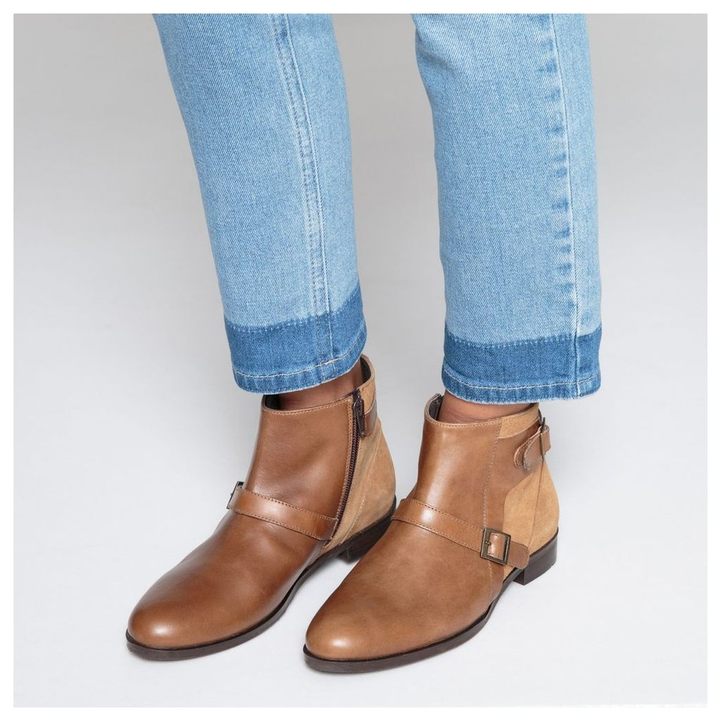 Leather Ankle Boots with Triple Buckle