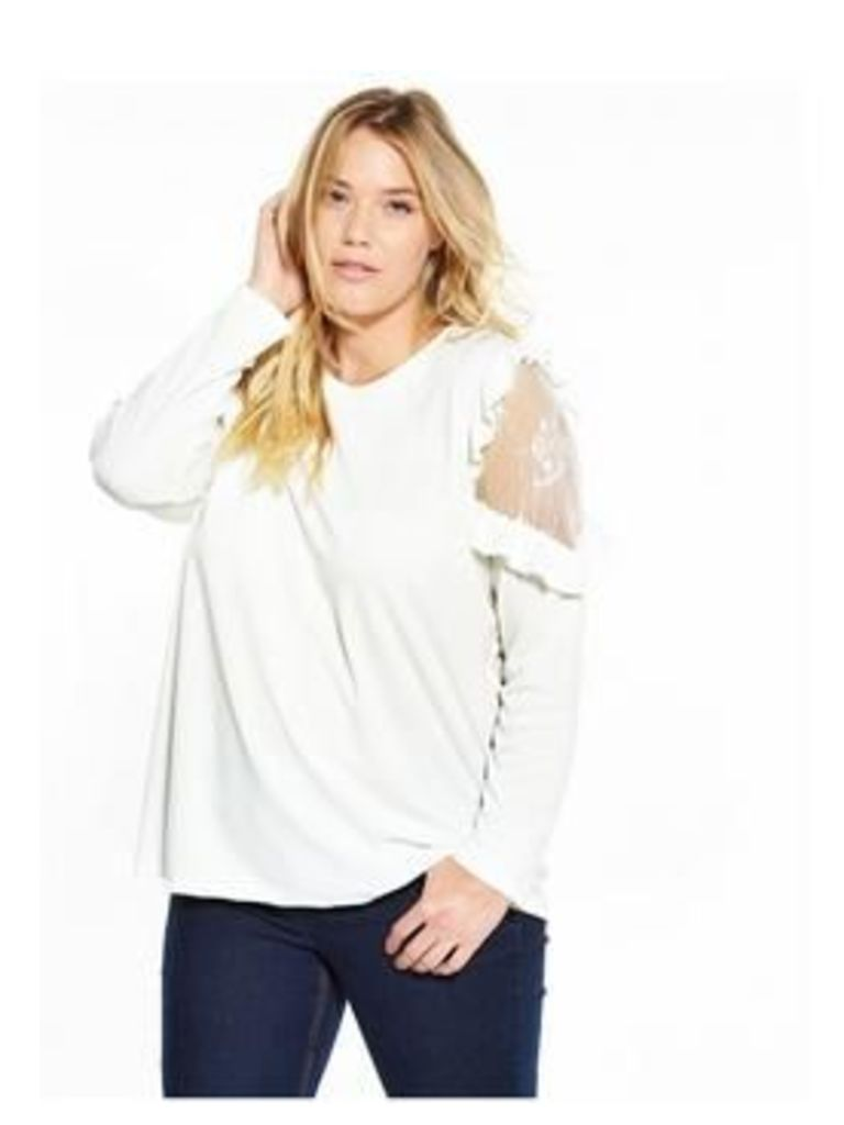V By Very Curve Curve Ruffle Lace Tunic - Ivory