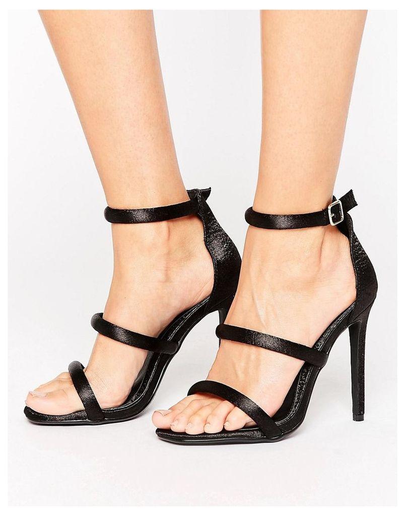 Missguided Satin Multi Strap Heeled Sandal - Black