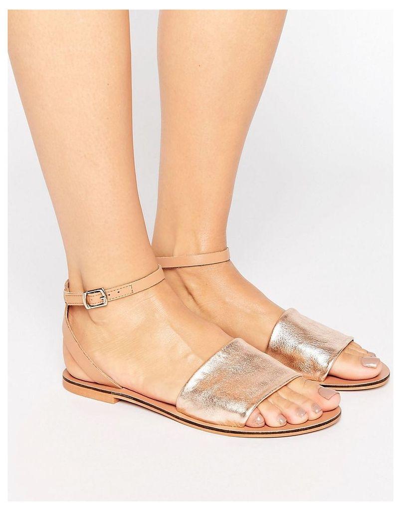 ASOS FUDGE Leather Flat Sandals - Gold