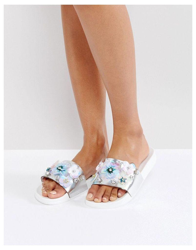ASOS FANCY FREE Embellished Sliders - White