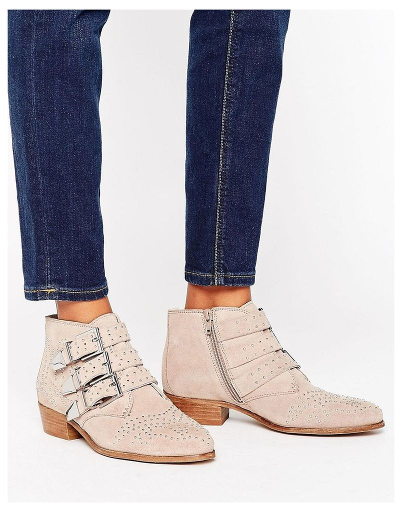 Office Stud Suede Ankle Boots - Taupe
