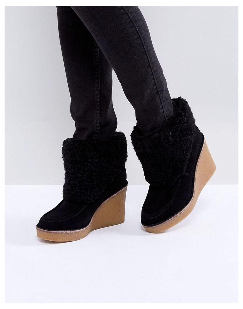 UGG Coldin Cuff Wedge Boots - Black