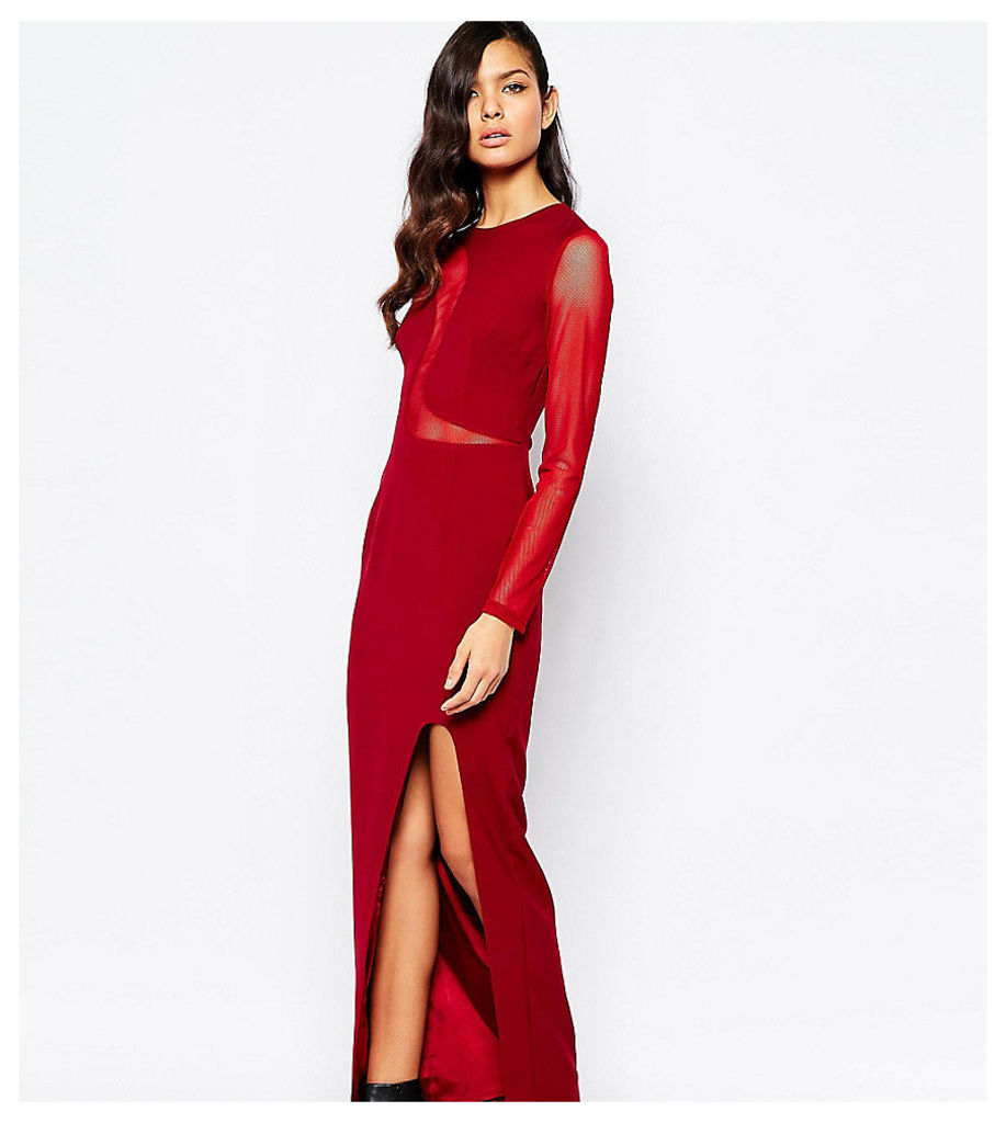 The 8th Sign Swirl Mesh Inset Maxi Dress With Deep Thigh Split - Oxblood