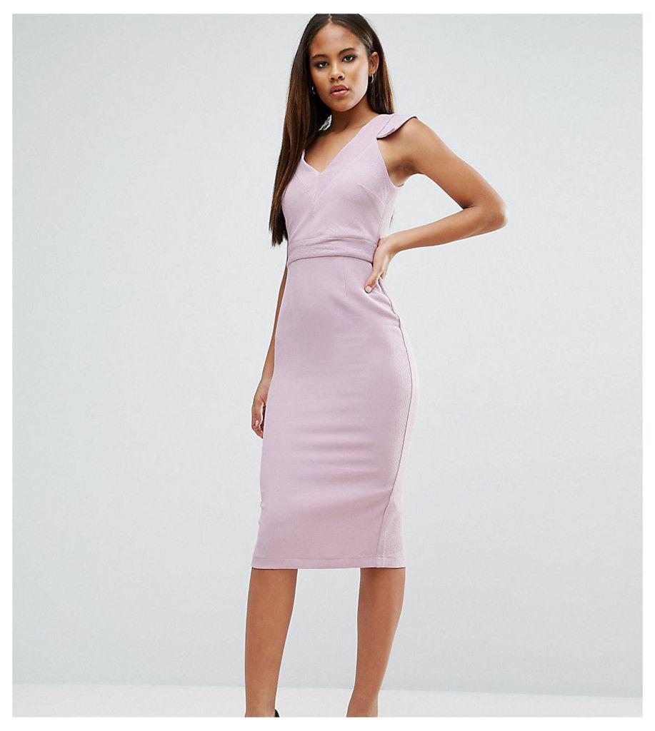 ASOS TALL V Front V Back Textured Pencil Dress - Lilac