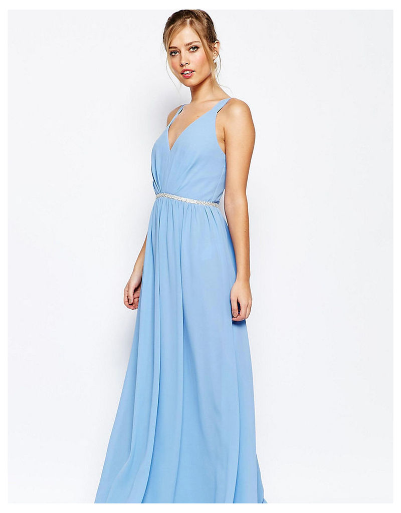 Jarlo Tall V Neck Maxi Dress In Chiffon With Embellished Waist - Blue