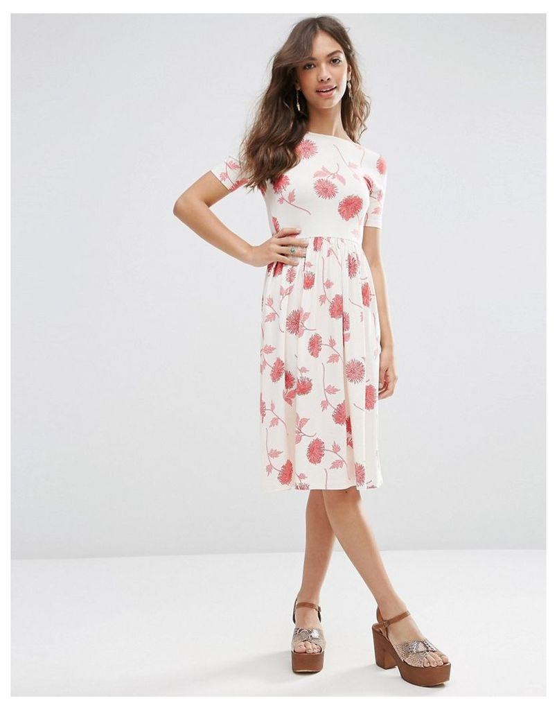 ASOS Midi Dress In Floral Print With Short Sleeve - Multi