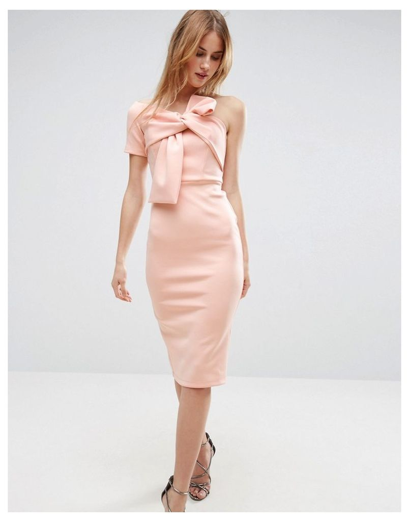 ASOS Bow One Shoulder Scuba Midi Dress - Peach
