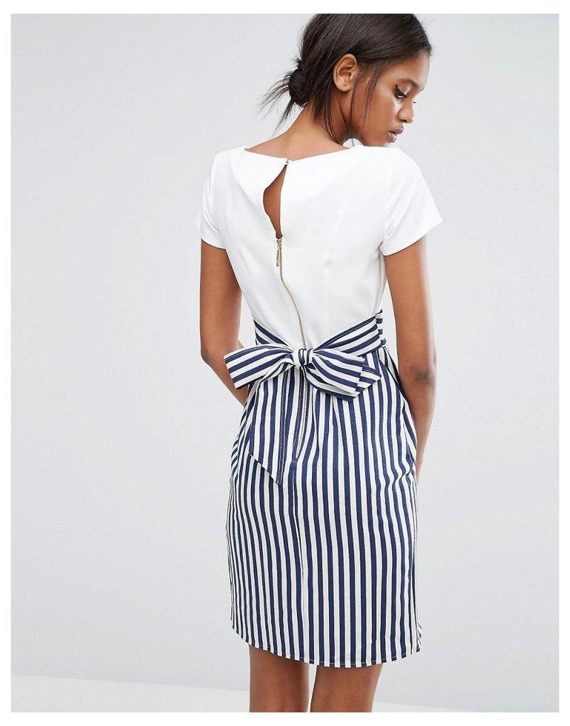 Closet Tie Back Stripe Button Dress - Navy and white