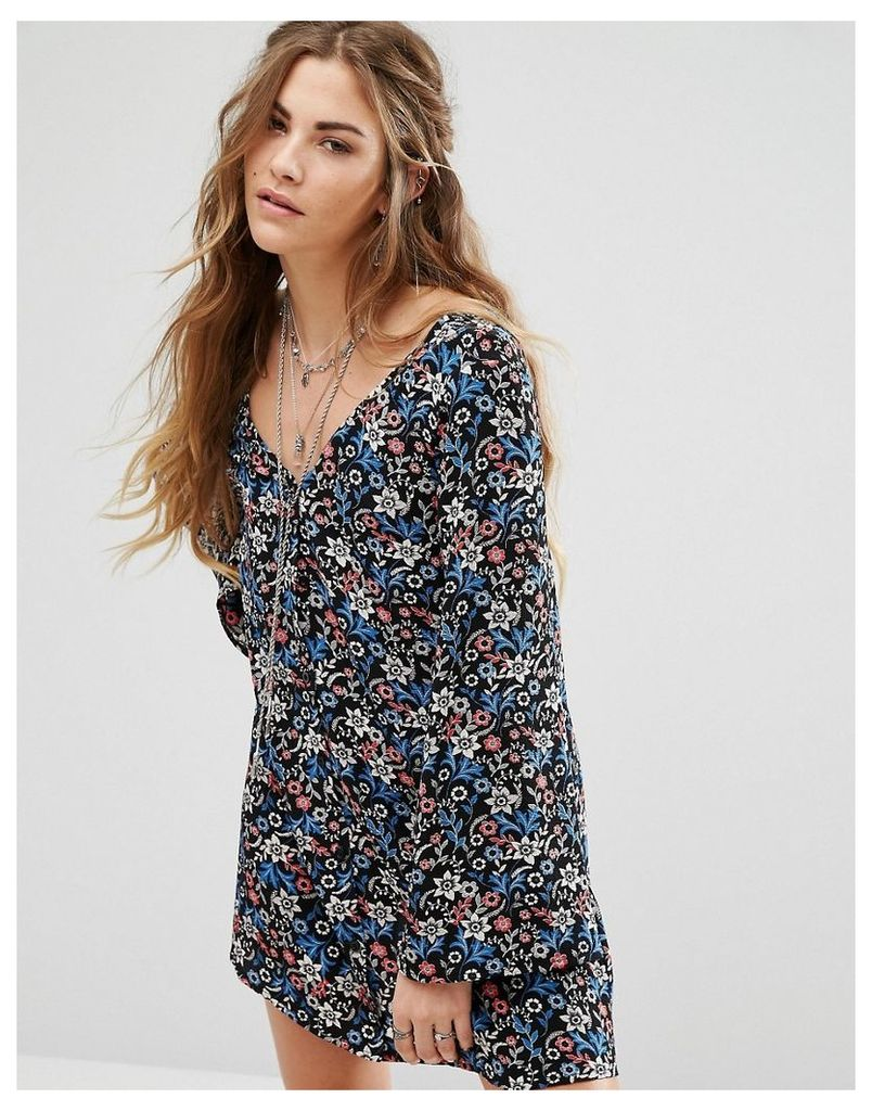 Glamorous Festival Long Sleeve Button Front Tea Dress In Vintage Floral - Multi