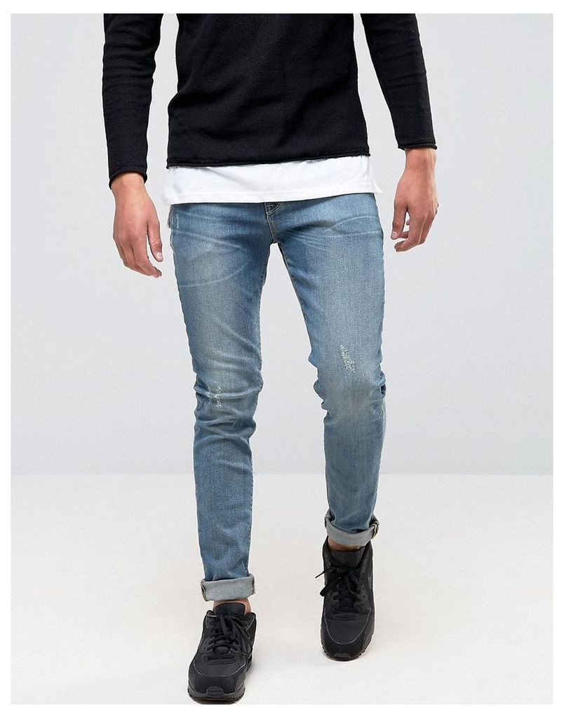 ASOS Skinny Jeans In Mid Wash Blue - Mid wash blue