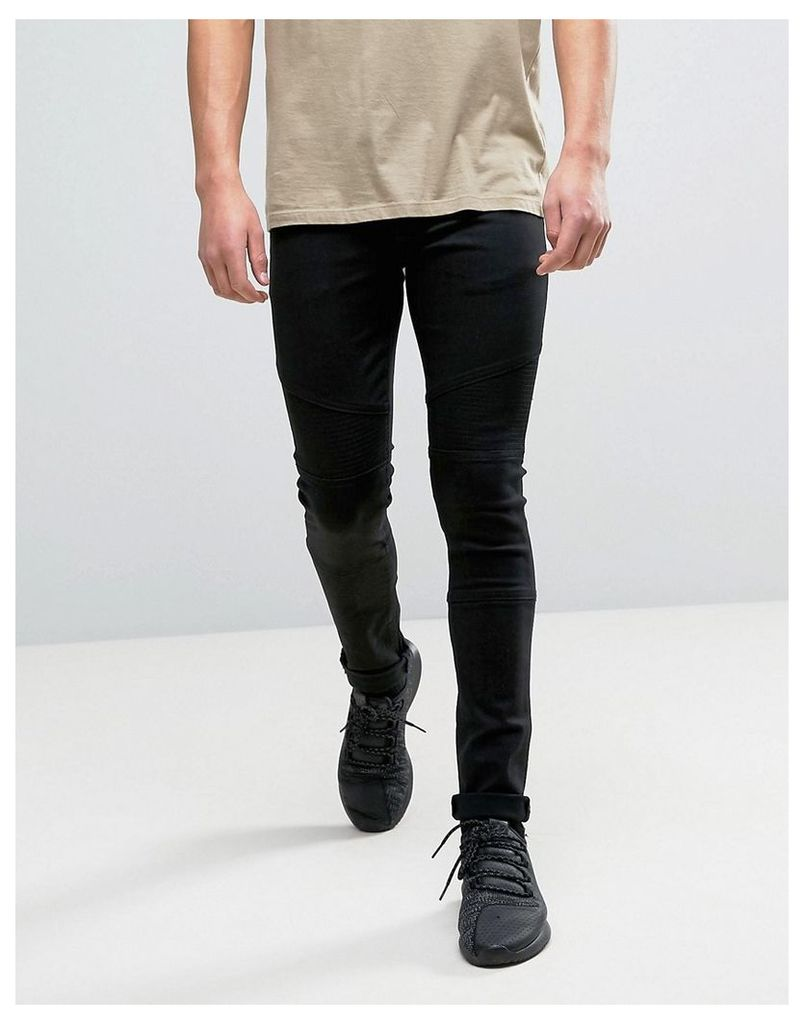 ASOS Super Skinny Jeans With Biker Panels In Black - Black