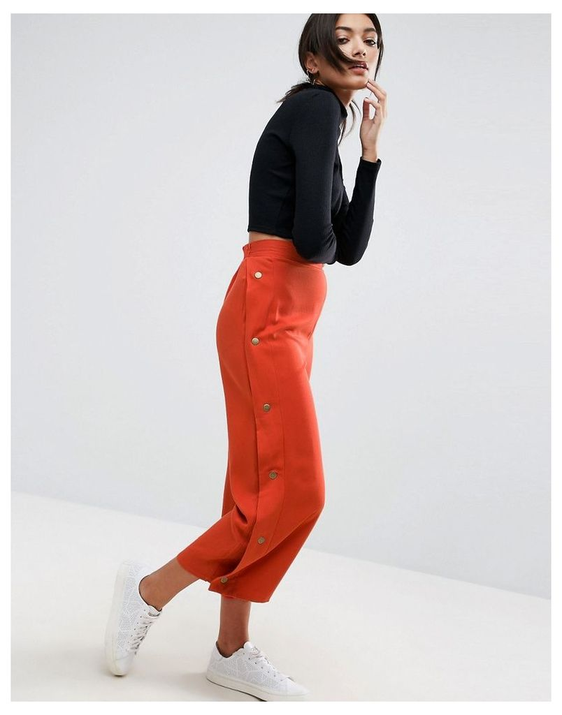 ASOS Clean Culotte Trousers with Popper Detail - Rust